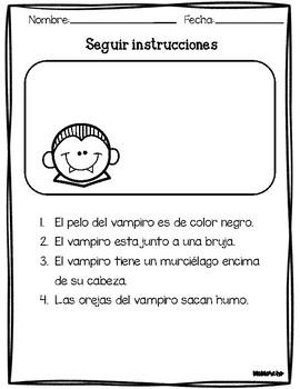 Follow directions in spanish(seguir instrucciones) Halloween