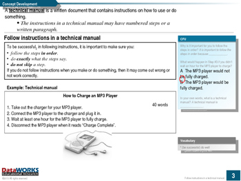 Follow instructions in a technical manual