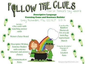 Follow the Clues: St Patrick's Day Edition (A Descriptive Language Game) FREEBIE