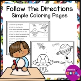 Follow the Directions Coloring Pages for Listening Skills