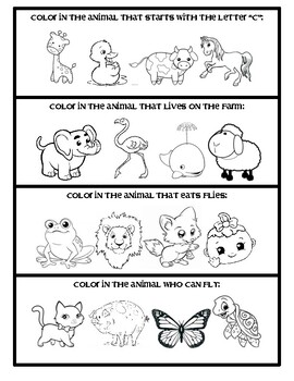 Follow the Directions:  Only color the animal that....