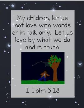 Follow the Drinking Gourd Bible Verse Printable (I John 3:18)