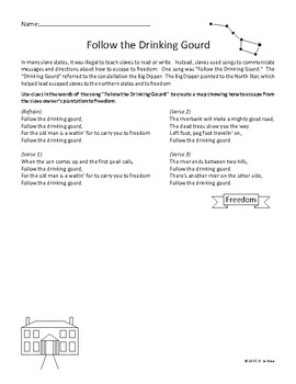 Follow the Drinking Gourd - Map Worksheet