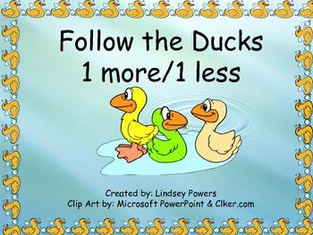 Follow the Ducks: 1 more/1 less math activity