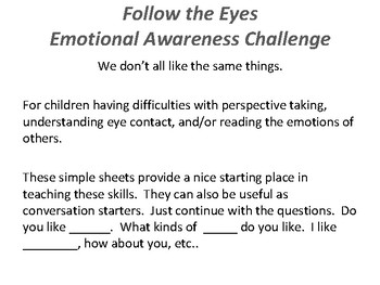 Follow the Eyes - Emotional Awareness of Others Activity Sheets