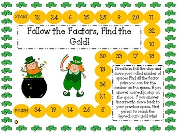Follow the Factors, Find the Gold: A St. Patrick's Day Factor Gameboard