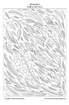 Follow the Flow (leaves) - Printable Colouring Page for Adults and Children.