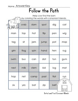 Follow the Path Consonant Blends (Initial, Final)- FREEBIE