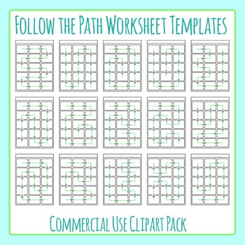 Follow the Path / Directions Worksheet Templates Clip Art Commercial Use