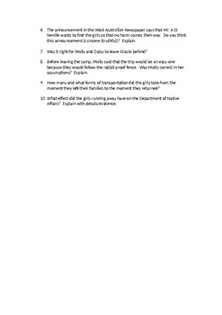Follow the Rabbit-Proof Fence Book Questions
