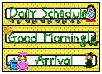 Follow the Yellow Brick Road Daily Schedule