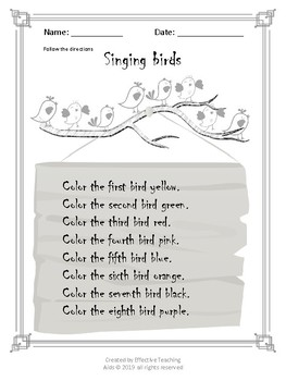 "Follow the directions worksheet ""Singing birds"""