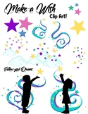 Follow your Dreams Wishing Clip Art Stars and Clouds
