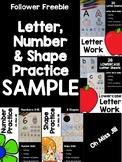 Follower FREEBIE - Letter, Number, Shape Practice