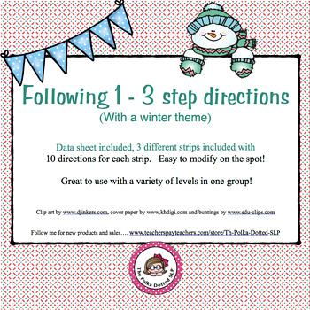 Following 1 - 3 Step Directions with a Winter theme
