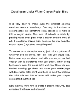 Following 2 Step Directions (To Create a Crayon Resist)