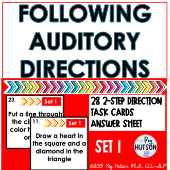 Following Auditory Directions Task Cards: Set 1