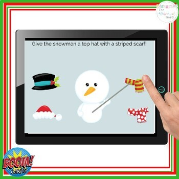 Following Christmas Directions BOOM Cards™ NO PRINT Flashcards Interactive