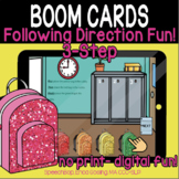 Following Direction Fun! (3-steps) - BOOM Cards- Distance Learning