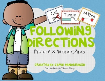 Following Direction Picture & Word Cards