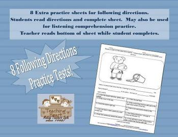 Following Direction or Listening Skills Extra Practice Sheets