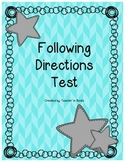 *Tricky* Following Directions Test