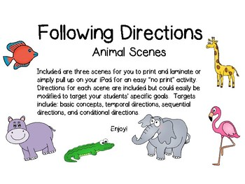 Following Directions with Animal Scenes