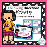 Following Directions Activity: A Fun Game for K-2