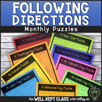 Following Directions: A Puzzle a Month (Puzzle Pack)