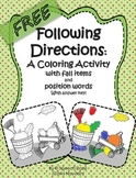 Following Directions: A coloring page with Position Words and Fall items