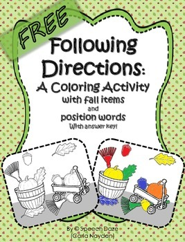 Following Directions: A coloring page with Position Words