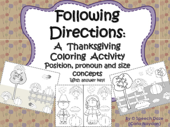 Following Directions: A thanksgiving coloring activity