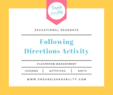 Following Directions Activity / First Week of School Activ