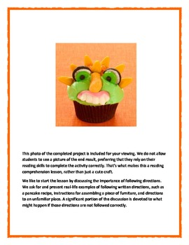 Following Directions Activity: Goblin Cupcakes (Reading Comprehension)