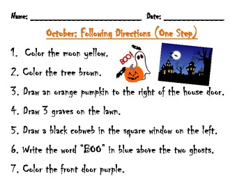 Following Directions Activity: Haunted House