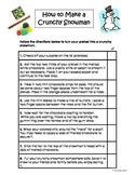 Following Directions Activity: How to Make a Crunchy Snowman (Reading Comp.)