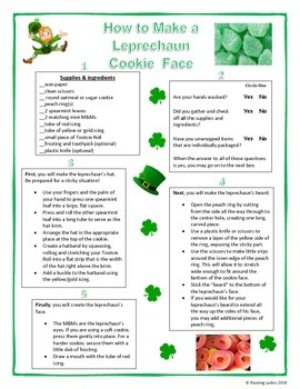 Following Directions Activity: Leprechaun Cookie Face (Reading Comprehension)