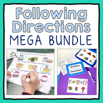 Following Directions MEGA Activity Pack with Visuals, Worksheets, & Activities!