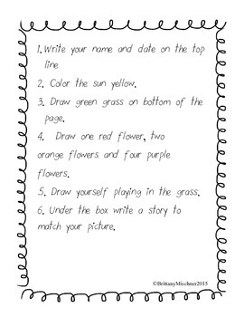 Following Directions Activity Pack