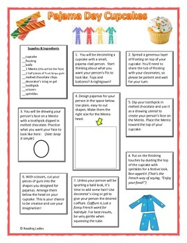 Following Directions Activity: Pajama Day Cupcakes (Reading Comprehension)