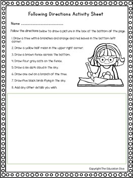 Following Directions Activity Sheet