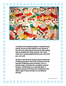 Following Directions Activity: Snowman Cookie Pop (Reading Comprehension)