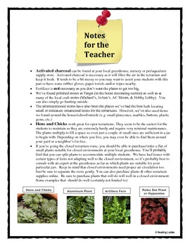 following directions activity terrarium in a jar reading comprehension. Black Bedroom Furniture Sets. Home Design Ideas