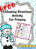 FREE--Following Directions Activity for Primary--Snowmen