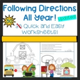 Following Directions Worksheets All Year! Distance Learning