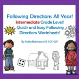 Following Directions Worksheets Intermediate Grade Level