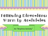 Following Directions - An Anytime Activity