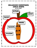 Following Directions- Apple Parts Color, Cut, and Paste