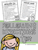 Back to School Activity April Fool's Day Following Directions Test Prank