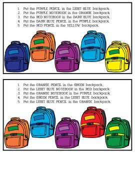 Following Directions: Back to School Bags